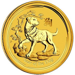 """The Perth Mint has released the first of the 2018 """"Year of the Dog"""" gold coins in the 2 Oz. size. The Historic Perth Mint in Australia is one of the longest standing Mints in the World beginning production in 1899. They are World renowned for the quality and purity of their coinage. In 1996 the Perth Mint started the Lunar Program (Series I) from .9999 fine gold based on the Chinese Lunar calendar. Purchase your Year of the Dog coins today at Austin Rare Coins & Bullion - 1-800-928-6468"""