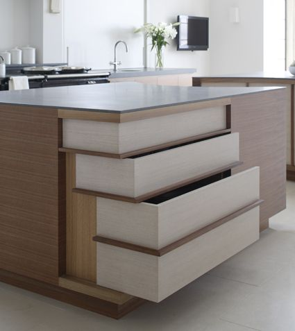 Gull-wing drawers for bespoke kitchen in French walnut and pigmented lacquer by www.artichoke-ltd.com