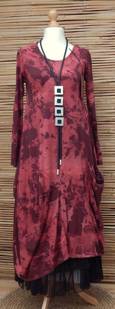 LAGENLOOK COTTON BEAUTIFUL ASYMMETRICAL QUIRKY PRINT DRESS*MAROON*SIZE S-M
