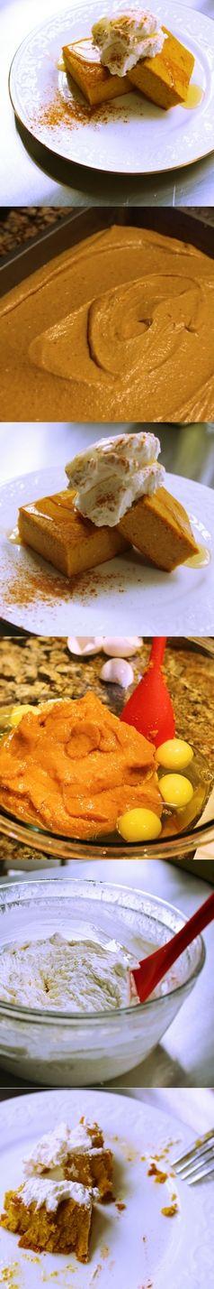 Crustless Pumpkin Pie Recipe  Gluten Free - No Sugar Added - Easy to Make - Pumpkin Spice   Ingredients:  29oz pumpkin puree - 1 lg. can  1 stick unsalted butter - softened 8oz cream cheese - softened 5 eggs 1 tbsp. vanilla extract 1 tsp. pumpkin pie spice 1/2 c. honey  1 c. GF flour   Whipped cream:  1 c. heavy cream 1 tsp. vanilla extract  Honey to drizzle on top.