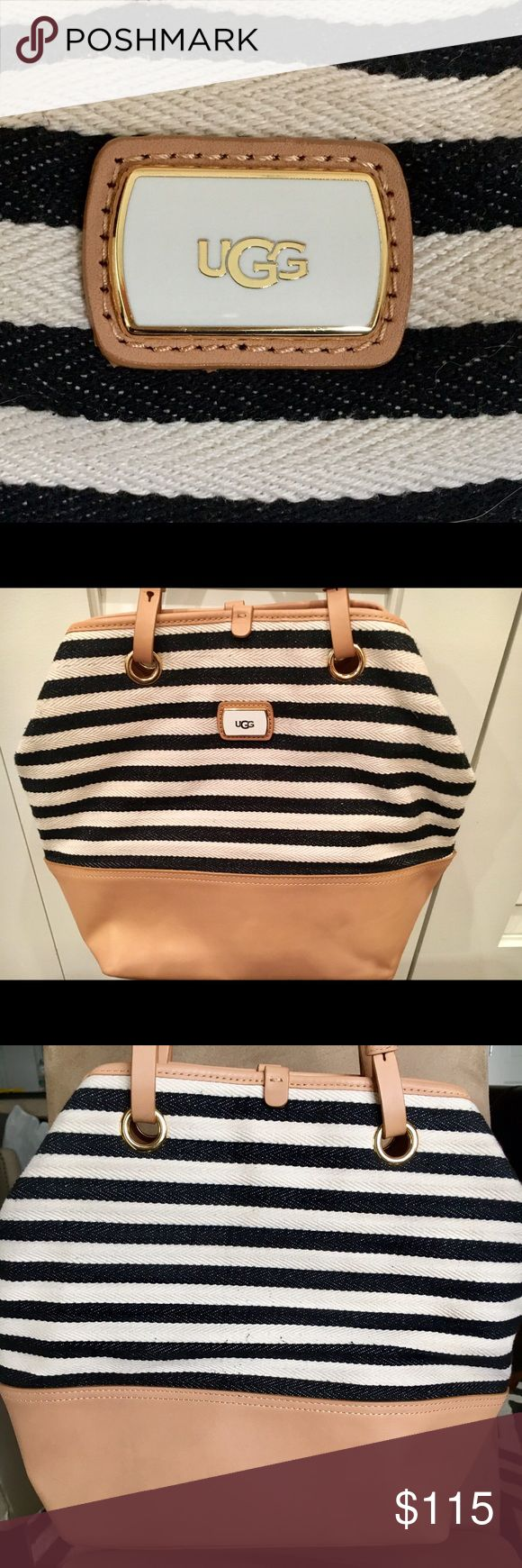 Ugg Nautical Bag Cutest bag! Tote with adjustable leather strap for shoulder; 3 interior pockets-1 with zipper; magnetic closure, leather on bottom. Great for spring/summer! Barely used, great condition. Original owner purchased directly through Ugg retail store. Priced to sell! UGG Bags Shoulder Bags