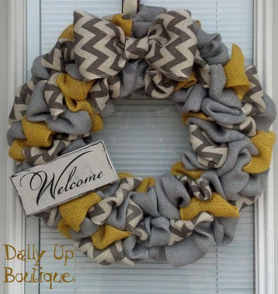 Home Decor Wreaths: Yellow, Natual And White/Gray Chevron