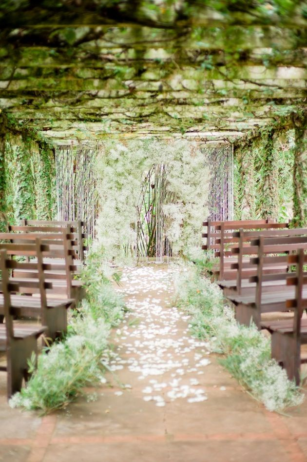 Amazeballs! A Dreamy Rustic White & Green Wedding Shoot | Bridal Musings - with some lights and flowers this would be almost exactly what I want!