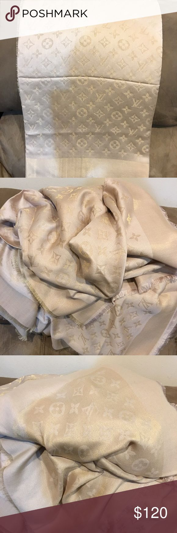 LV Scarf LV scarf. Size 140 cm by 140 cm. Cream color. Very beautiful scarf. Price reflects authenticity. Accessories Scarves & Wraps