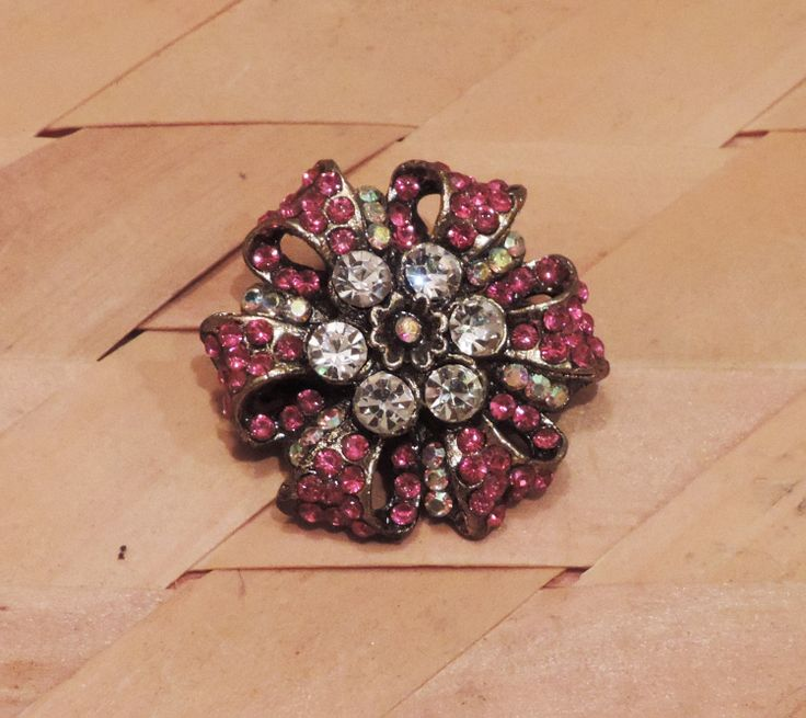 Pink silver Foral Antique Hair Clip