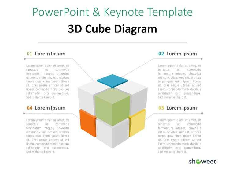 3D cube diagram infographic for PowerPoint
