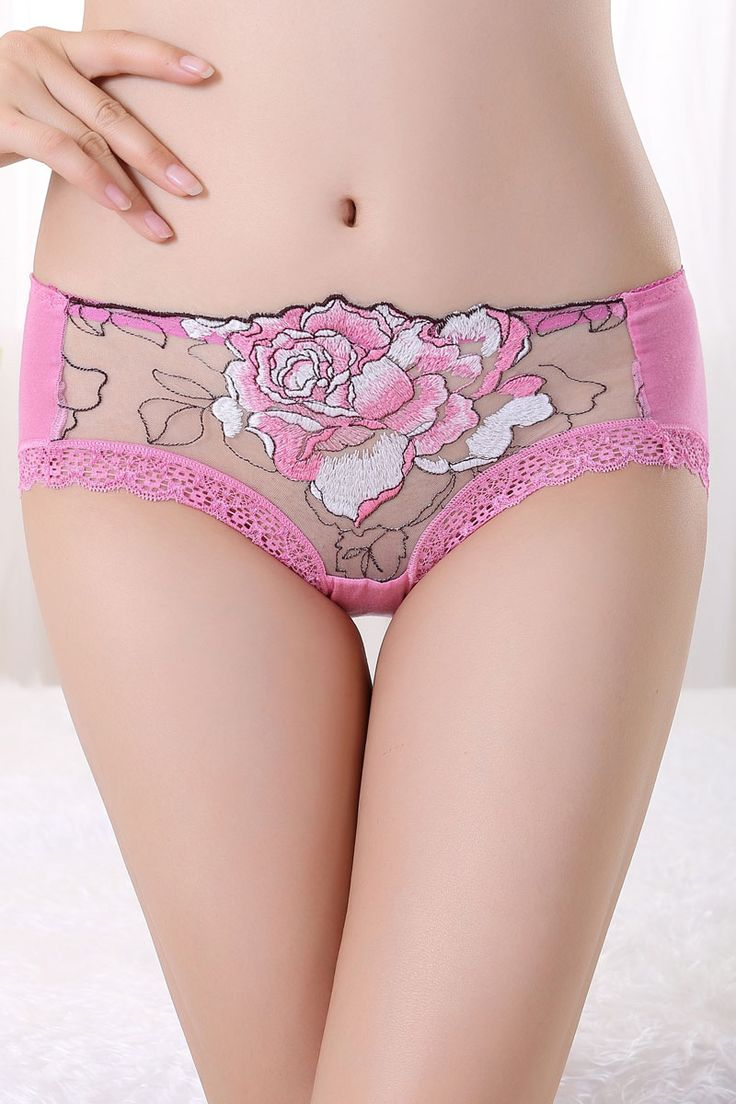 Pink Large Peony Embroidered Lace Trim Panties