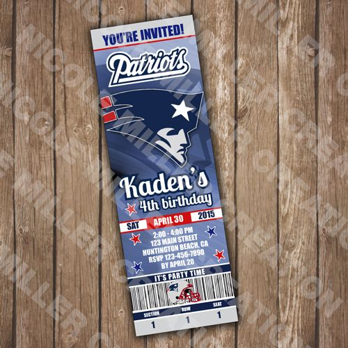 New England Patriots Ticket Invite - CUSTOMIZABLE