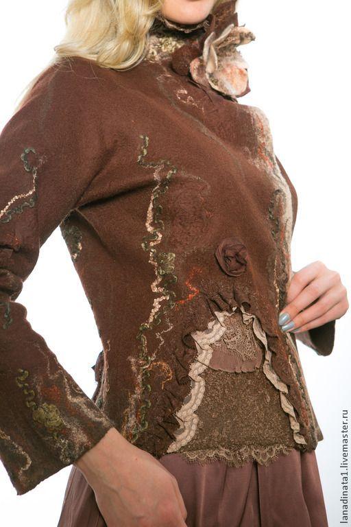 """Купить Жакет """"Вкус шоколада"""" из валяной шерсти - коричневый, жакет из войлока, элегантный жакет"""