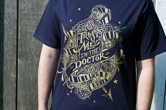 Doctor Who - Trust Me I'm The Doctor T-Shirt Hand Screen by UnicornEmpirePrints