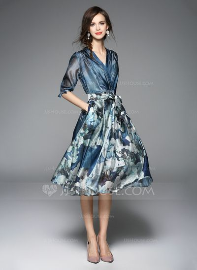 Polyester With Print Midi Dress (199084042)Polyester With Print Midi Dress Perfect for Spring, can be worn casual or smart, dress up or dress down, this dress is a perfect addition to your wardrobe. Pair it with some nude color shoes to elongate your legs.