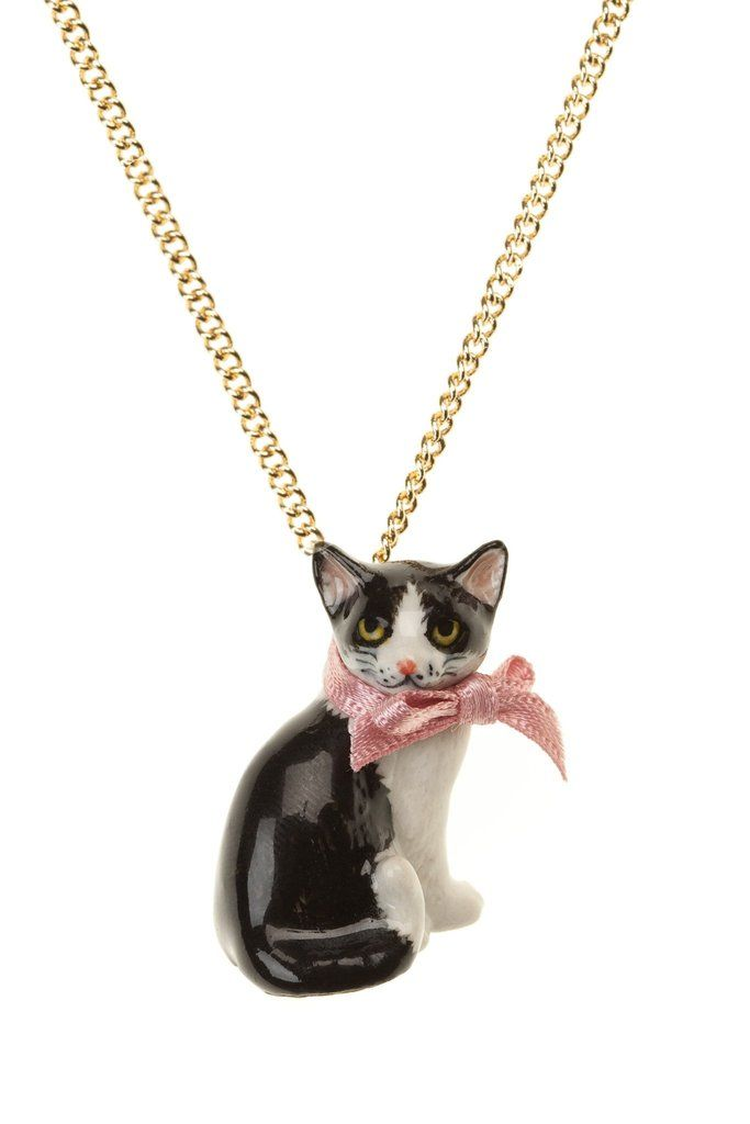 Porcelain Black and White Cat Necklace