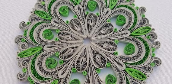 Green Gray Mandala Quilling Paper Ornament, Mandala Home Decor, Mandala Paper Figure, Mandala Present for Boyfriend Dad Mom Sister Family
