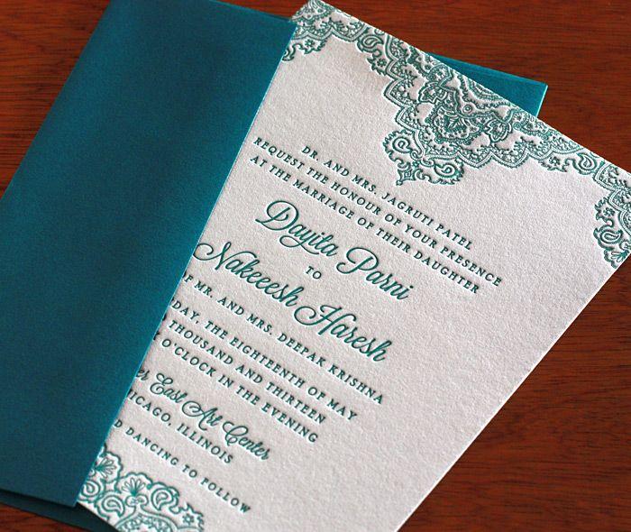 teal wedding invitation design for Indian wedding: http://invitationsbyajalon.com/gallery/dayita.html#