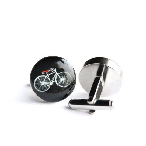 Kerékpár nemesacél mandzsettagombok (fekete, piros), Férfiaknak, Ékszer, óra, Meska
