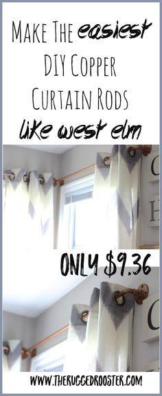 DIY Curtain Rod, West Elm Copper Curtain Rod,