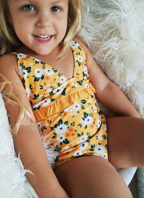 dcc1e5f0b8 Retro,Kids swimwear, floral print, mustard, yellow, flowers, kids ...