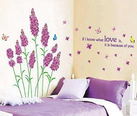 Purple Floral Flower Tree Wall Stickers