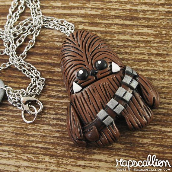 Chewbacca Inspired Polymer Clay Necklace by rapscalliondesign, $23.62