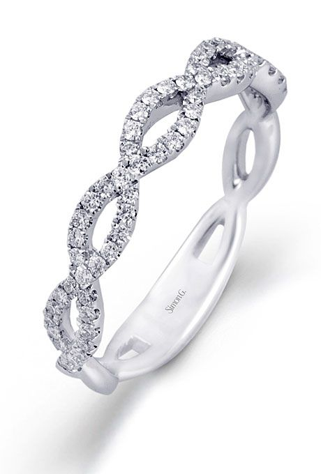 18K white gold pave criss-cross Simon G. wedding band #ellemagazine #readysetsparkle