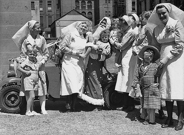 Royal Prince Alfred Hospital Christmas, December 1944 / by Sam Hood.  Find more detailed information about this photograph: http://acms.sl.nsw.gov.au/item/itemDetailPaged.aspx?itemID=25901      From the collection of the State Library of New South Wales www.sl.nsw.gov.au