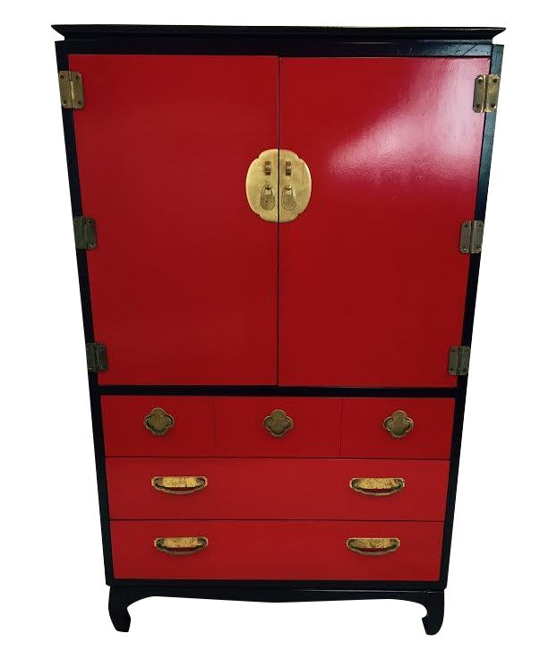 Lacquered Red & Black Asian Style Lane Dresser on Chairish.com