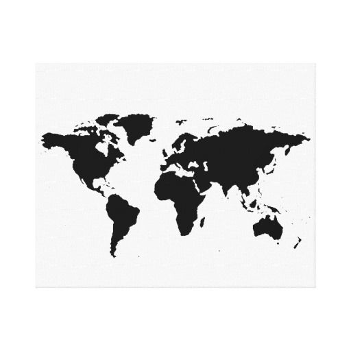 zwarte witte wereld-kaart canvas afdrukken