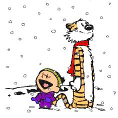 Calvin and Hobbes animated gif, It's Snowing! He's thinking of all those crazy snowmen he'll be making.  ; }