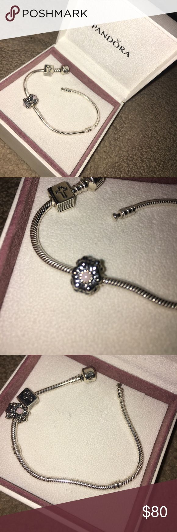 Pandora bracelet with charms Has bible charm and October birth stone! Never been worn. Pandora Jewelry Bracelets