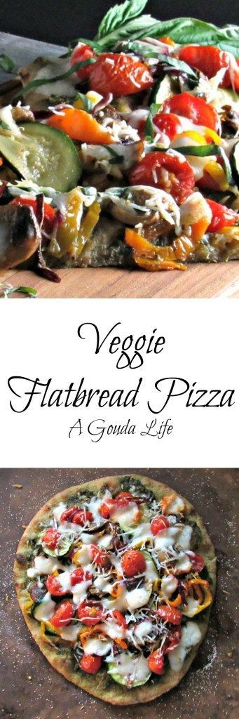 Veggie Flatbread Pizza ~ roasted vegetables for outrageously good flavor. Made on #stonefire flatbread so ideal for any night.