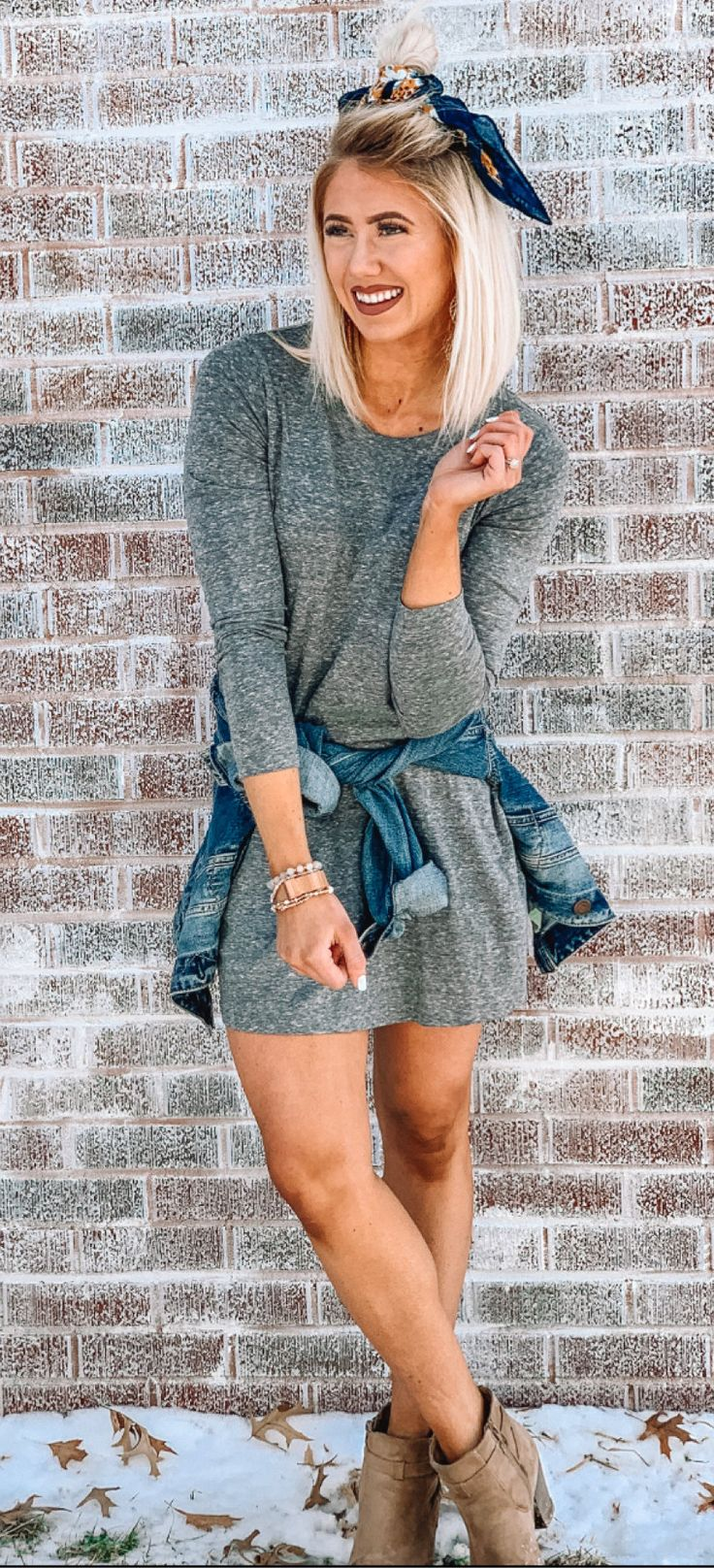 gray crew-neck long-sleeved dress #spring #outfits