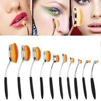 Wish   Colorful Toothbrush Shape Oval Makeup Brush Set Foundation Powder Brushes Cosmetic Brush Tool Kit Super Soft