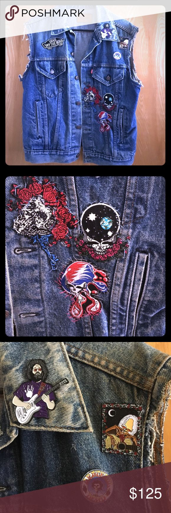 Cut off sleeve vintage Levi's vest patches pins Selling a vintage 1980s Levi's vest cut off sleeves with great patchwork I sewed on as the artist for this gem! Has Grateful Dead patches and a Powell skateboards patch on the back. Also included are some limited edition Grateful Dead hat pins that have Jerry Garcia and skeleton playing guitar buttons  in right side of the collar on vest. This is a handmade item and has a lot of great times and memories to be passed down to someone who enjoys…