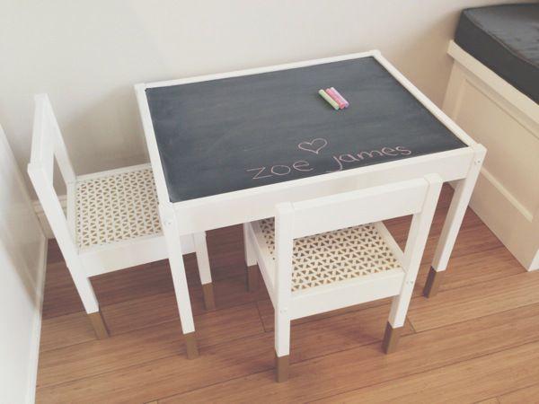 chalkboard table - DIY from Ikea Latt table
