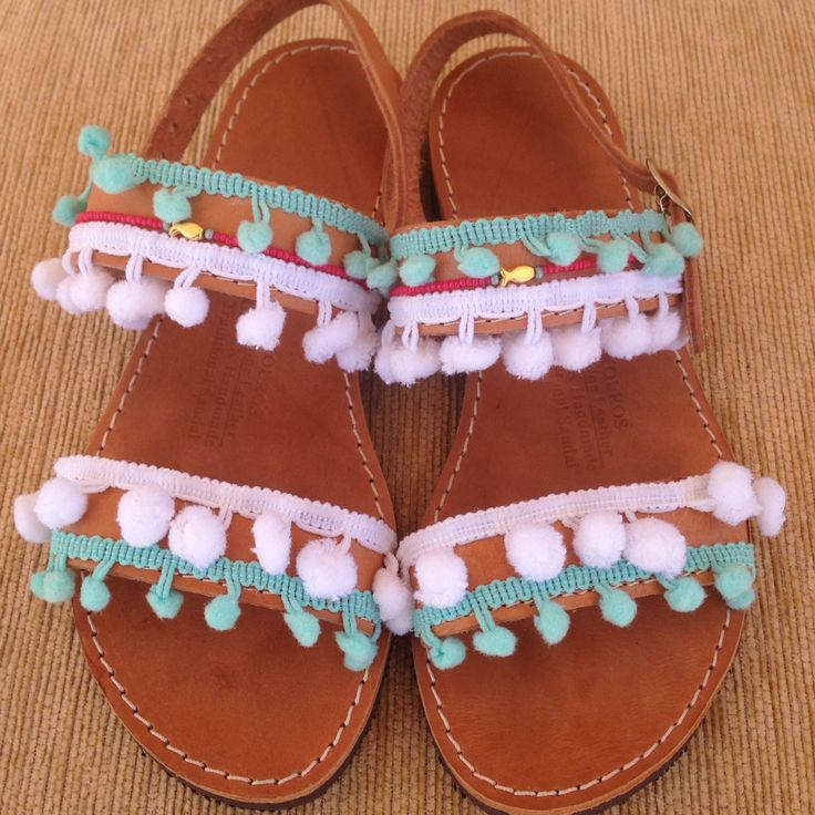 Handmade bohemian sandals with blue and white pon pons by @bohemian__dreams