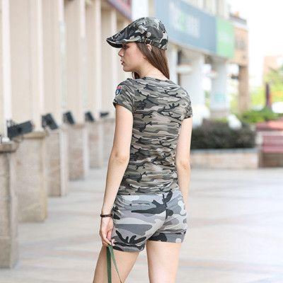 New Fashion Women'S Shorts Summer Mid Waist Denim Shorts Loose Casual Women Shorts Military Camouflage Shorts Plus Size Gk-9326B