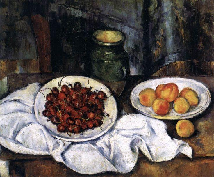 Paul Cezanne Paintings List | Paul Cézanne, Cherries and Peaches , 1883-87, Oil on canvas, 50 x 61 ...