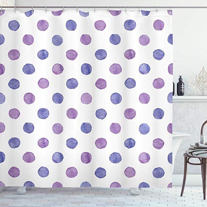 Amazon Com Ambesonne Purple Shower Curtain Watercolor Paint Style Nostalgic Retro Style Polka Dot In 2020 Purple Shower Curtain Bathroom Decor Sets Nursery Patterns