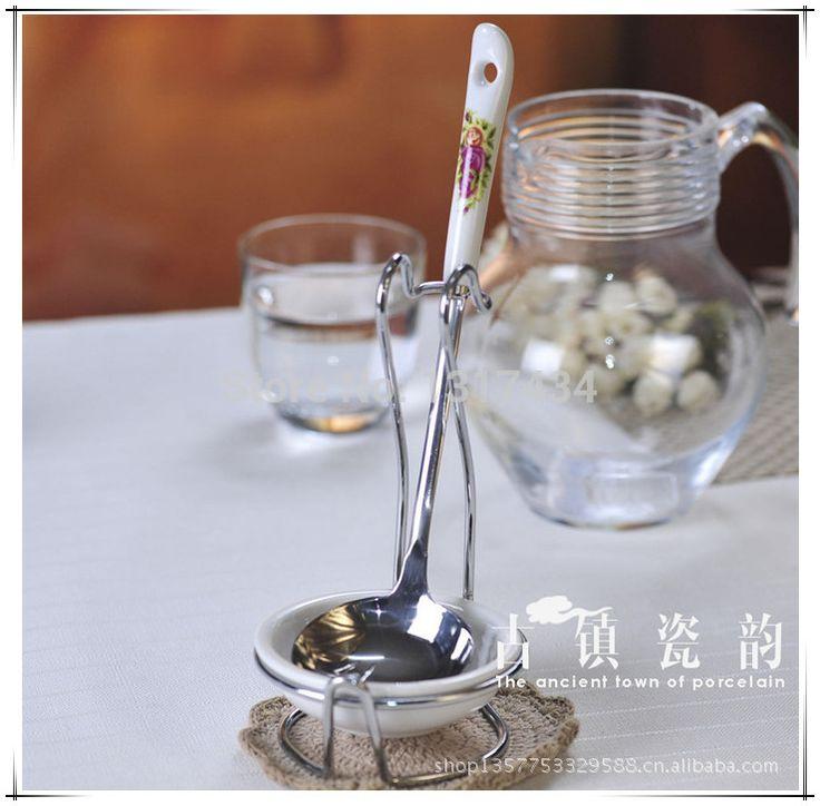 Высококачественный костяной фарфор розовые розы керамические ковш кашу ложкой в нержавеющей стали ложка отдых кухонная утварь кухонные принадлежности