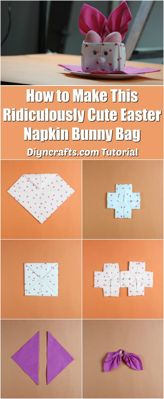 How to Make This Ridiculously Cute Easter Napkin Bunny Bag {Video tutorial} - Tutorial and video by diyncrafts.com team <3 via @vanessacrafting