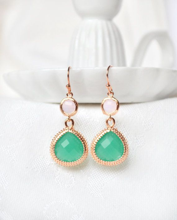 Mint green bridesmaid earrings green by ArtemisBridalJewelry