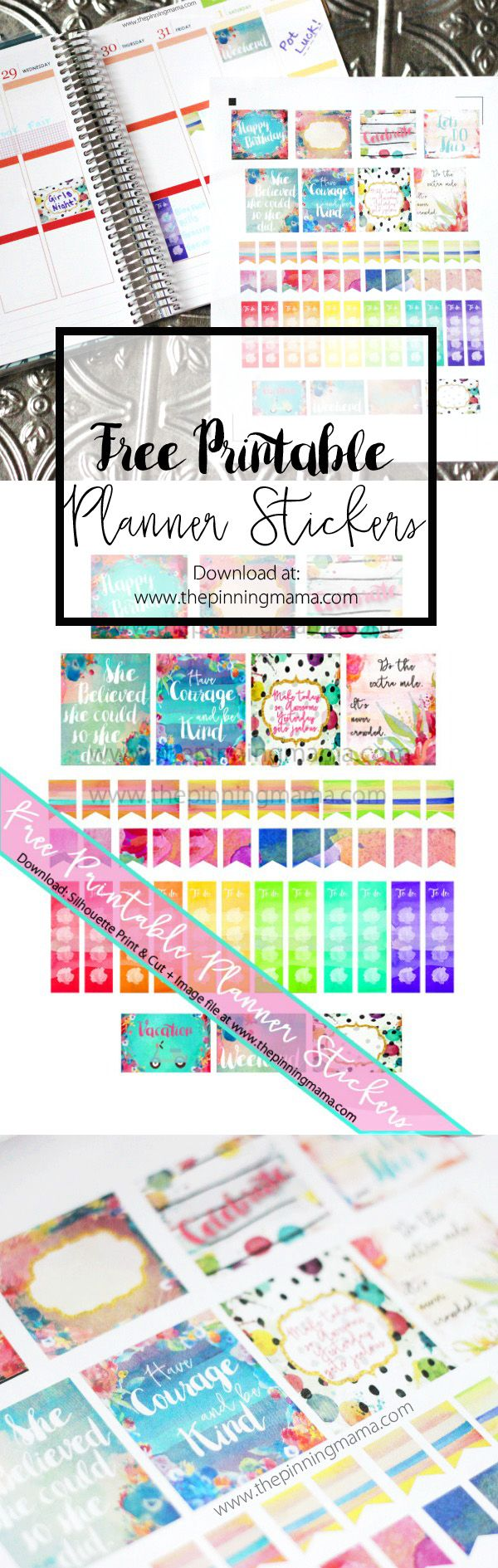 Free Printable Watercolor Quotes Planner Stickers. {Silhouette CAMEO print and cut file and image file} at thepinningmama.com