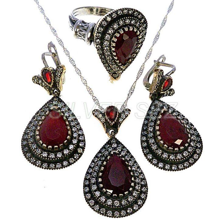 925 sterling silver hurrem sultan set single drops ruby color turkish ottoman