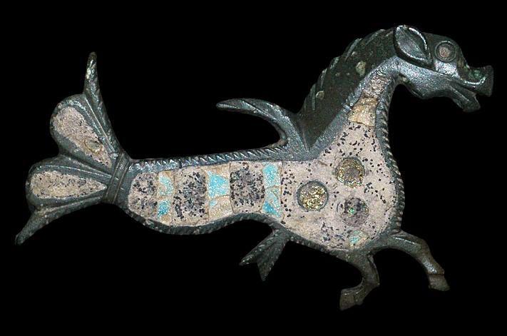 Roman Enamelled Seahorse Brooch