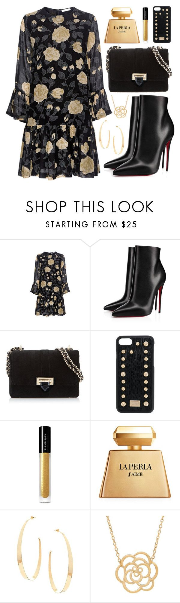 """""""Vintage Florals """" by iris913 ❤ liked on Polyvore featuring Ganni, Christian Louboutin, Aspinal of London, Dolce&Gabbana, Illamasqua, La Perla, Lana, Lord & Taylor, vintage and vintageflorals"""