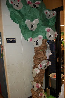 Bulletin board for beg of the year. Kids make koalas and explain how they are a K.O.A.L.A. Already have the tree ;)