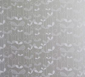 Saplings Silver with White Wallpaper