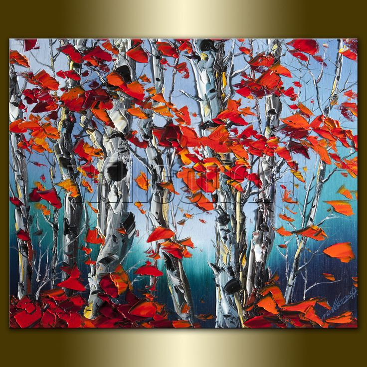 Original Autumn Birch Landscape Painting Oil on Canvas Textured Palette Knife Contemporary Modern Tree Art 20X24 by Willson Lau. $175,00, via Etsy.