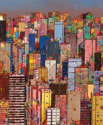 "MANHATTAN I. Jean-François Larrieu's (French, b 1960) works ""are like exotic rhythms, an amalgamation of superimposed and repetitive forms, joyful and impressionable. He has created a distinctive language and architecture, choreographed in mosaics, multicolored and multicultural. Larrieu's implementation and usage of insistent calligraphic type imagery speaks to a transcendent era of artistry and faith."" - Canfin Gallery."