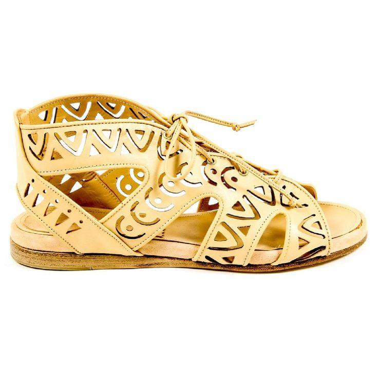 Beige 39 EUR - 9 US Parrice Womens Lace Up Sandal PS15S2 CREAM